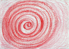 Red abstract composition. Spiral hand drawn Royalty Free Stock Photo