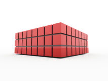 Red abstract cubes background rendered Stock Images