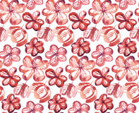 Red abstract cute flowers seamless pattern. Watercolor artwork Stock Photography