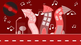 Red abstract dancing city in a flat style with a vinyl plate instead of the sun with curved houses with notes with trees with a ro. Ad and bushes, clouds on a Stock Images