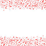 Red abstract festive confetti falling merry background. Bright fun burst particle falling. Vivid decoration easy to put over any card or image. Vector Stock Photography