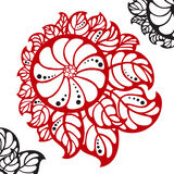 Red abstract flower with black dots Royalty Free Stock Photos