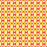 Red abstract flower petals on yellow background seamless pattern Royalty Free Stock Photography