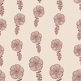 Red abstract flowers nature seamless pattern. Hand drawn Stock Image