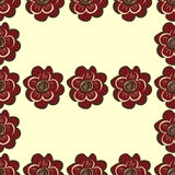 Red abstract flowers seamless pattern background Stock Photos