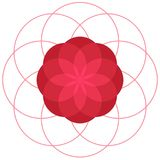 Red abstract geometric flower. Vector symbolic ornament royalty free illustration