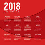 2018 Red Abstract Graphic Printable Calendar Starts Sunday Stock Photos