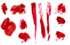 Red abstract hand painted acrylic brush strokes and splatter Stock Photo