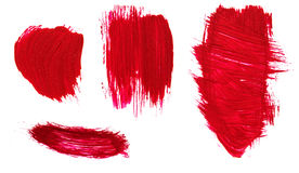 Red abstract hand painted acrylic brush strokes and splatter Stock Images