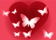 Red abstract hearts with butterflies Royalty Free Stock Image