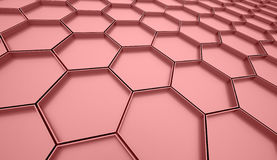 Red abstract hexagonal cell background Stock Image