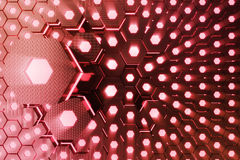 Red abstract hexagonal glowing background, futuristic concept. 3D rendering Royalty Free Stock Image