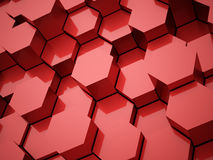 Red abstract hexagonal tubes background Royalty Free Stock Photos
