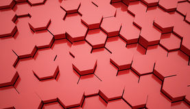 Red abstract hexagonal tubes Royalty Free Stock Image