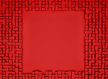 Red abstract image of cubes background. 3d render Stock Photos
