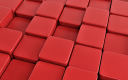 Red abstract image of cubes background. 3d render Stock Photo