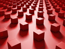 Red Abstract Metallic Cubes Background Stock Images