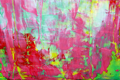 Red Abstract Painting. Beautiful Spring colors with sharp red contrast and high visual appeal in this abstract painted with a large palette knife and thick stock image