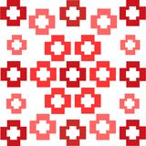 Red squares crosses symmetrical pattern abstract background vector illustration