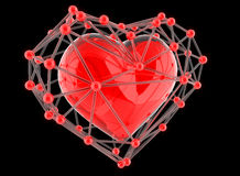 Red abstract polygonal heart  on black background. Royalty Free Stock Image