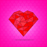Red abstract polygonal heart on pink background. Vector illustration Stock Photos