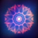Abstract shining cosmic star. Red abstract shining cosmic mandala on blue background Stock Photos
