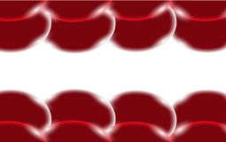 Red abstract shiny beautiful and convex smooth three-dimensional simple balls, bubbles, circles with glare of light located on top. And bottom on a white Royalty Free Stock Photos