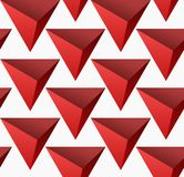 Red abstract simple 3D triangles seamless pattern. Abstract colorful triangles background vector illustration