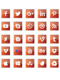 Red abstract social media signs. Cool abstract social media signs Stock Photo