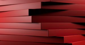 Red Abstract Stacked Boxes Closeup. 3D Rendering. Clean Red Abstract Stacked Boxes Closeup High Contrast. 3D Rendering Royalty Free Stock Image