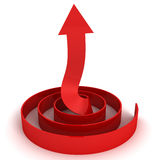 Red Abstract Success Arrow Pointing Up In Spiral Stock Photo