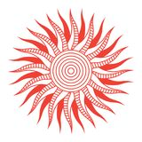 Red abstract sun symbol. Vector illustration royalty free illustration