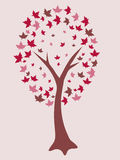 Red abstract tree. A vector illustration of a beautiful tree in red tones Royalty Free Stock Photography