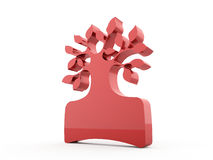Red abstract tree rendered on white Stock Photo