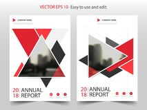 Red abstract triangle annual report Brochure design template vector. Business Flyers infographic magazine poster. Abstract layout template ,Book Cover vector illustration