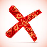 Red abstract triangles isolated vector cross mark Royalty Free Stock Photo