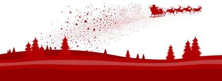 Christmas Season Panorama Banner with flying Santa and Reindeer Sled - Vector Illustration. Christmas Season Panorama Banner with flying Santa and Reindeer Sled stock illustration