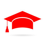 Red academic graduate cap icon. Red academic graduate cap vector icon Royalty Free Stock Images