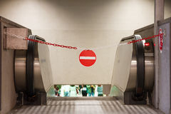 Red access forbidden sign in underground Royalty Free Stock Images