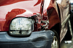 Red accident car. Details of a red car in an accident Royalty Free Stock Images