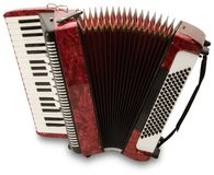 Red Accordion. Hand made clipping path included stock image