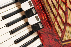 Red accordion, close up Stock Photos