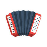 Red accordion icon. Musical instrument sign. Vector illustration isolated on white background Stock Image
