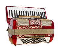 Red accordion. Musical instrument, play music, outdated device Stock Photography