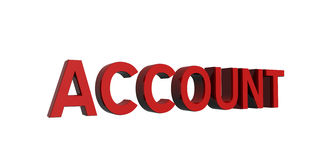 Red-account. 3D render of red text on a white background, account Stock Images