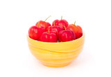 Red acerola. A cup of acerola Stock Images
