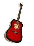 Red acoustic guitar Stock Images