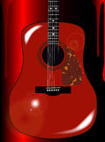 Red Acoustic Guitar Background Royalty Free Stock Image