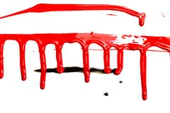 Red acrylic paint. Flows on white background. Background for design stock photo