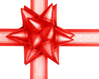 Red acute-angled gift bow Royalty Free Stock Images